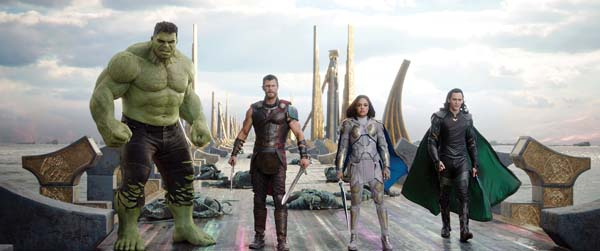 "Mark Ruffalo (from left), Chris Hemsworth, Tessa Thompson and Tom Hiddleston star in ""Thor: Ragnorak."" Marvel Studios via AP"