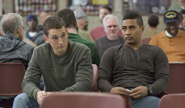 "Miles Teller (left) and Beulah Koale in ""Thank You for Your Service."" DreamWorks Pictures via AP"