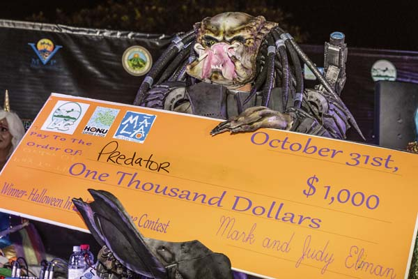 """Jeremy Swangel took first place and the $1,000 prize in the handmade Costume Contest during Halloween festivities Tuesday night in Lahaina town. His costume was called """"Predator."""" LahainaTown Action Committee / BRYAN BERKOWITZ photo"""