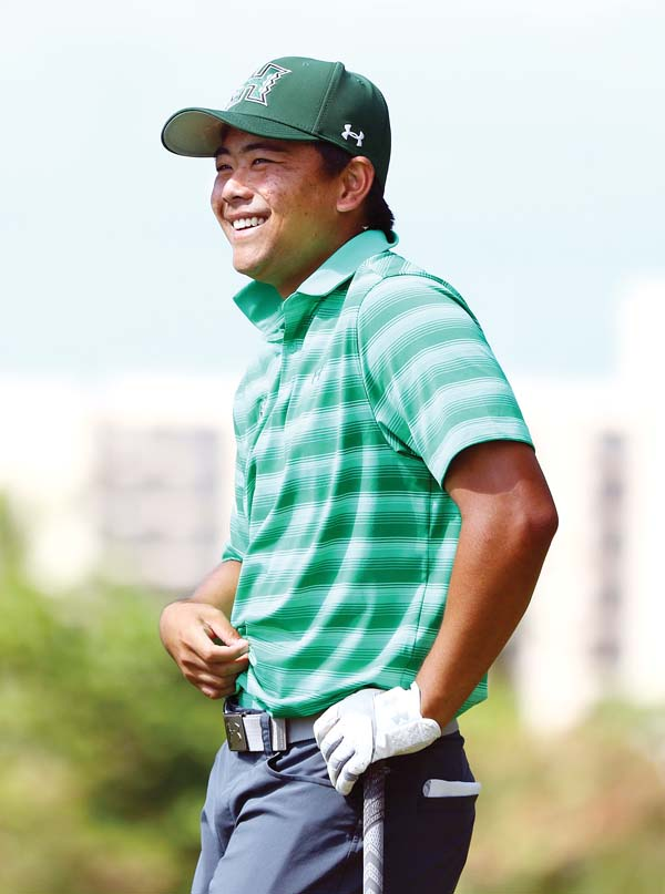 Hawaii's Justin Ngan smiles during Friday's round. -- The Maui News CHRIS SUGIDONO photo
