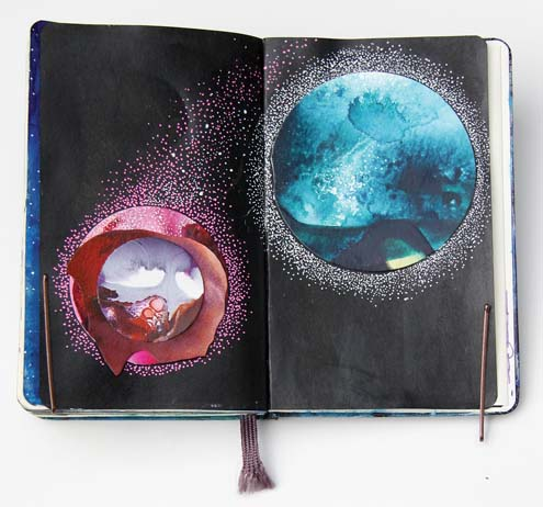 "A journal entry called ""Portals,"" with acrylic paint and mixed media paper -- Photo via AP"