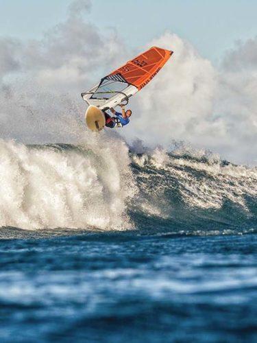 Kai Katchadourian heads to the Aloha Classic masters title Monday at Hookipa Beach Park. International Windsurfing Tour / SI CROWTHER photos