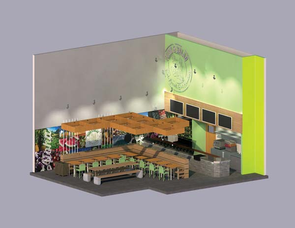This concept illustration shows the planned interior for Fork & Salad's location at the Puunene Shopping Center. The farm-to-table eatery is expected to open by late spring.