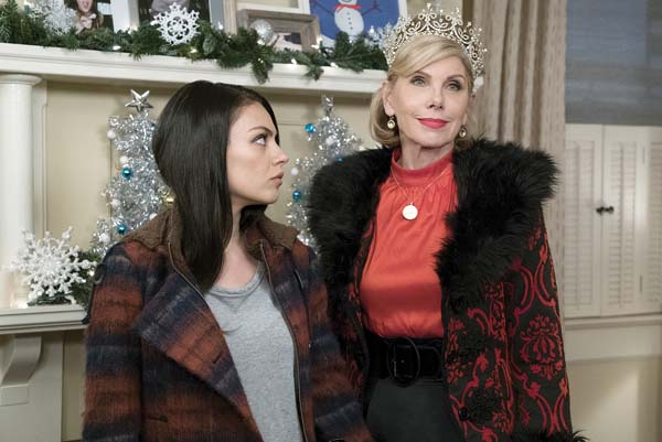 "Mila Kunis (left) and Christine Baranski in a scene from ""A Bad Moms Christmas."""