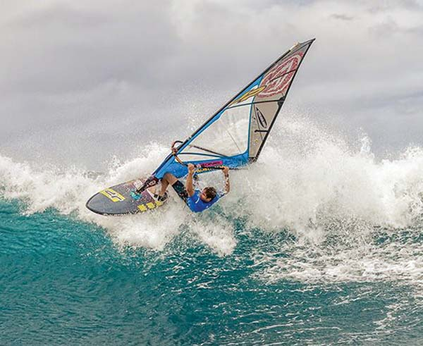 Morgan Noireaux competes in the Aloha Classic semifinals Saturday at Hookipa Beach Park en route to winning the men's pro title at the event for a third time. -- International Windsurfing Tour / SI CROWTHER photo