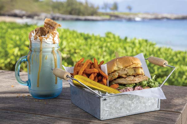The oceanfront Burger Shack at The Ritz-Carlton, Kapalua will grill turkey burgers and serve with sweet-bread buns, stuffing, cranberry aioli, gravy and sweet-potato fries with pumpkin gelato shakes and pie-dough crumbles. The Ritz-Carlton, Kapalua photo