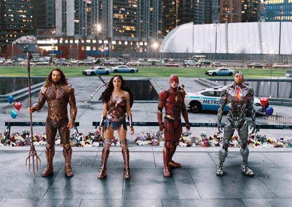 "Jason Momoa (from left) Gal Gadot, Ezra Miller and Ray Fisher star in ""Justice League."" Warner Bros. Entertainment Inc. photo via AP"