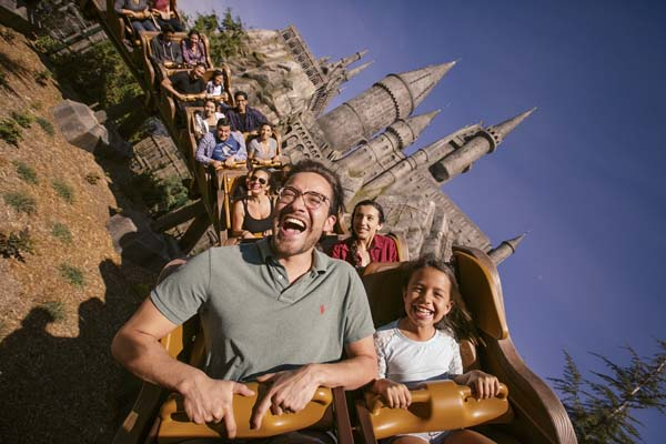 "Visitors ride ""Flight of the Hippogriff"" roller coaster at Universal Studios Hollywood. -- Photo courtesy Los Angeles Tourism & Convention Board"