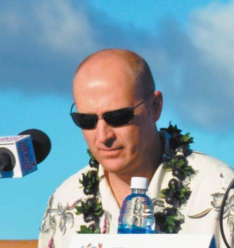 Eric Bovaird, shown during a Maui Jim Maui Invitational news conference Sunday at the Sheraton Maui Resort & Spa, is in his seventh season as Chaminade's coach. The Maui News / BRAD SHERMAN photo