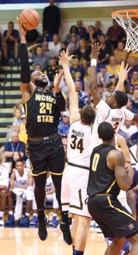 Wichita State's Shaquille Morris goes up for a shot during the first half of the Shockers' 92-82 victory over California on Monday in a Maui Jim Maui Invitational first-round game at the Lahaina Civic Center. The Maui News / MATTHEW THAYER photo