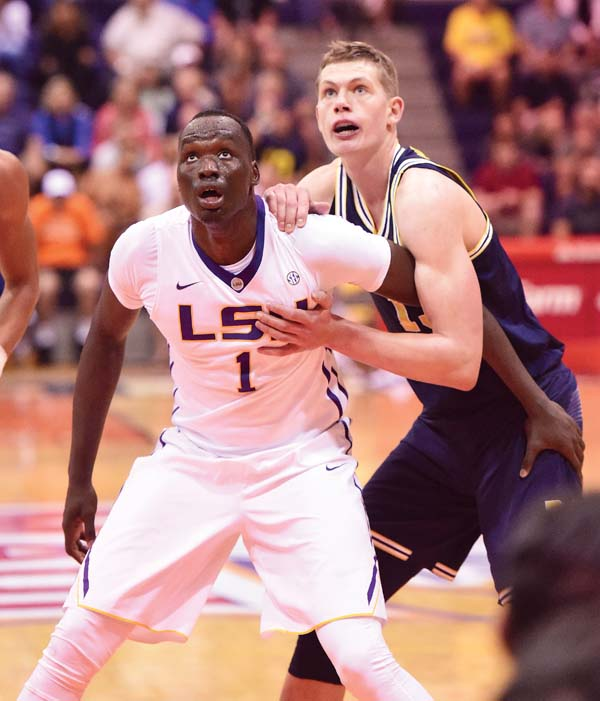Duop Reath of LSU and Michigan's Moritz Wagner jostle under the basket during the first half of the Tigers' 77-75 win over the Wolverines on Monday. The Maui News / MATTHEW THAYER photo