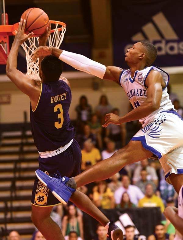 D.J. Harvey of Notre Dame is fouled by Chaminade's Justin Bridges.