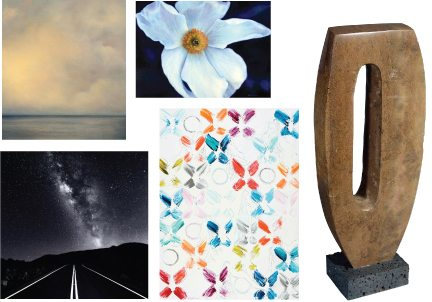 Artwork by participating artists (clockwise from top left) Kari McCarthy, Melissa Chimera, Tim Garcia, Lori Koprowski and Scott Reither. Photos courtesy Four Seasons Resort Maui.