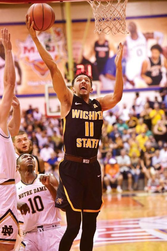 Wichita State's Landry Shamet goes up for a first-half shot.