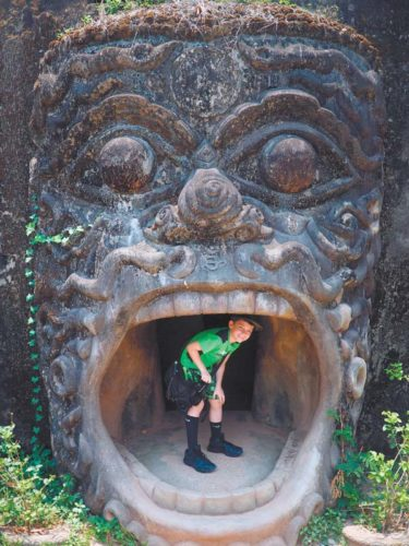 In planning a trip with just his younger son, Wyatt (in photo), Ted Anthony was able to choose activities more suited to his younger child's preferences, including a day of exploring at a sculpture park near the Mekong River. -- AP photo