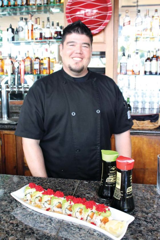 Sushi Chef Jordan Chin (first photo) handcrafts a variety of specialty and happy-hour rolls, above. 5 Palms photos