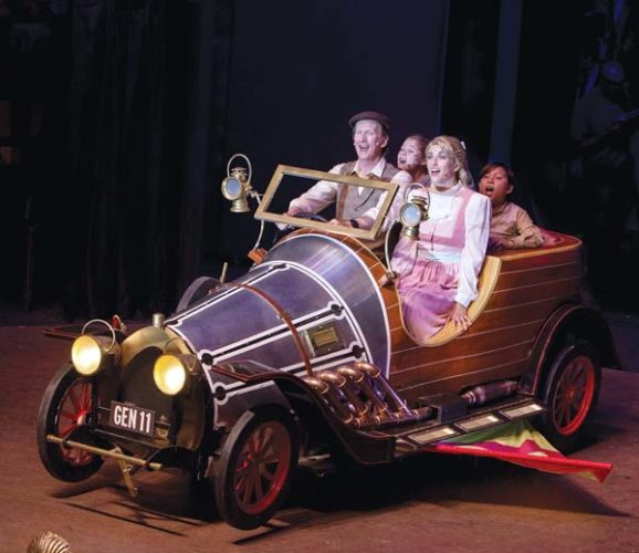 "Ricky Jones (from left), Dakota Welch, Sara Jelley and Kanoa Gorring soar in Maui OnStage's presentation of Ian Fleming's ""Chitty Chitty Bang Bang."" Jack Grace photos"