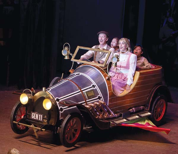 """Ricky Jones (from left), Dakota Welch, Sara Jelley and Kanoa Gorring soar in Maui OnStage's presentation of Ian Fleming's """"Chitty Chitty Bang Bang."""" Jack Grace photos"""