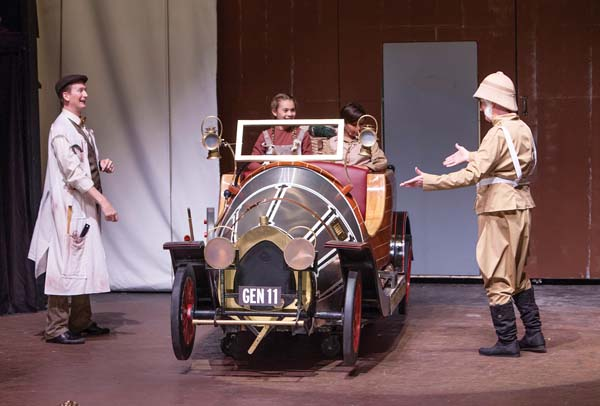 """Ricky Jones (from left), Dakota Welch, Kanoa Gorring and Dale Button marvel over the """"dream work"""" done to Chitty. Performances continue at 7:30 p.m. Fridays and Saturdays and 3 p.m. Sundays, with special 2 p.m. matinee performances on Saturday and Dec. 9. For more information or to purchase tickets for any Maui  OnStage performance, call 242-6969 or order online at www.mauionstage.com."""