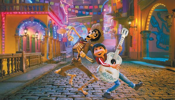 "The quirky Hector (left), as voiced by Gael Garcia Bernal, and Miguel, voiced by Anthony Gonzalez, star in Disney-Pixar's ""Coco."" Disney-Pixar photo via AP"