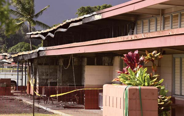 The F wing at Kahului Elementary School was damaged by fire Friday night. State Rep. Justin Woodson, who got a close look at the damage, said Wednesday that half the wing was gutted. Though not an engineer, he believes the entire wing will have to be rebuilt.