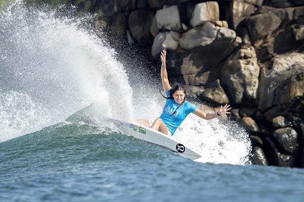 Malia Manuel competes in the final against Gilmore. -- World Surf League / KELLY CESTARI photo