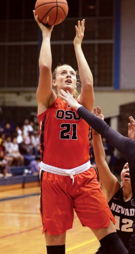 Oregon State's Marie Gulich puts up a shot in the first quarter Friday. - The Maui News / CHRIS SUGIDONO photo