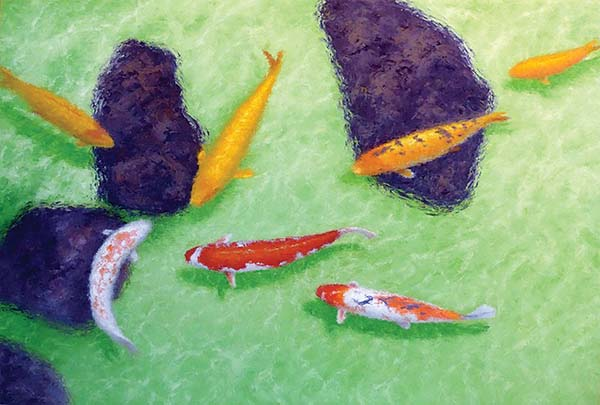 """""""Koi Gathering"""" by George Allan is one of the artist's pieces available at Viewpoints Gallery in Makawao. -- Photo courtesy Viewpoints Gallery"""