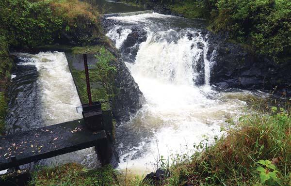Water from the West Wailuaiki Stream flows through the Koolau Ditch on Wednesday in East Maui. - The Maui News / CHRIS SUGIDONO photo