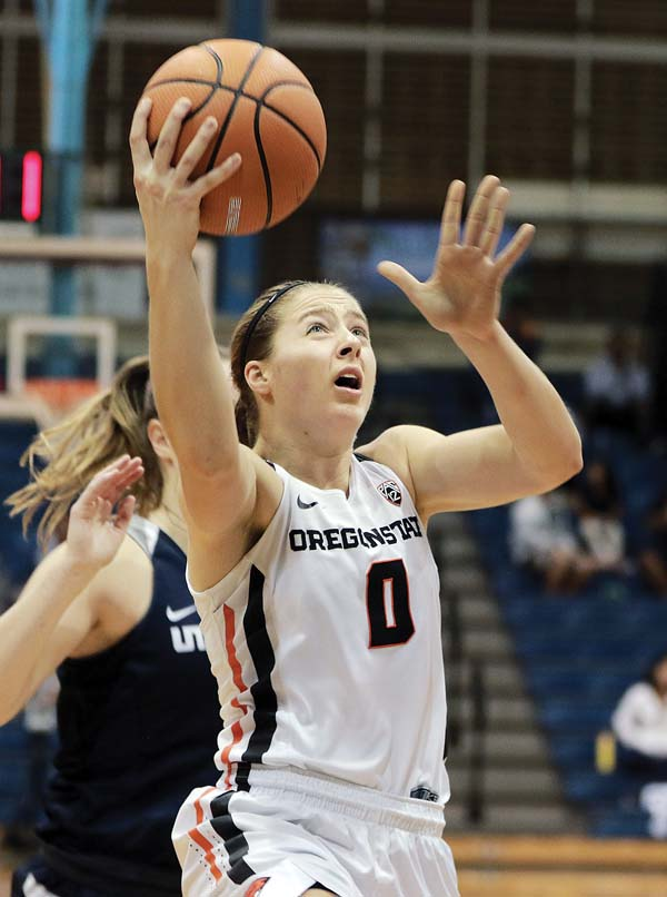 Oregon State's Mikayla Pivec puts up a layup in the second quarter Saturday. - The Maui News / CHRIS SUGIDONO photo