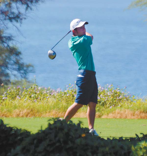 Evan Kawai of Honolulu tees off from the 11th hole Sunday during the final round of the HSJGA Tournament of Champions at the Wailea Emerald Course. The Maui News / ROBERT COLLIAS photo