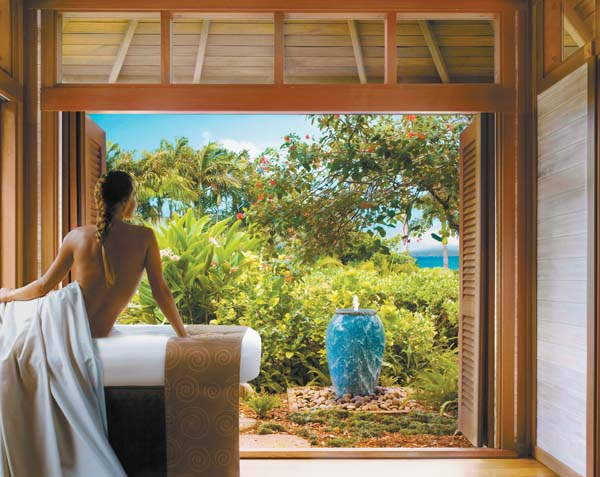 A guest luxuriates in an outdoor treatment cabana (above). In addition to the 10 Days promo, the Be Well This Holiday Season complimentary spa event will be held  Friday with an outdoor boot camp led by a lululemon ambassador, mini eye-rescue treatments, makeovers and a pop-up trunk show. Montage Kapalua Bay photo
