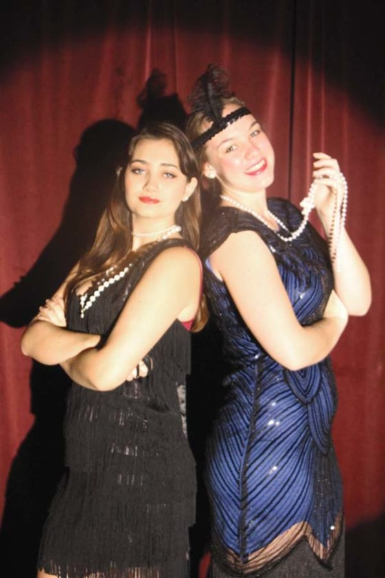 """Kaya Greene (left) and Nicole Fatheree star in """"Gentlemen Prefer Blondes."""" Performances are at 7 p.m. Fridays and  Saturdays through Dec. 16 with a special 3 p.m. matinee Dec. 17 in the cafetorium at the King Kekaulike High School campus in Pukalani. Tickets are $8 for adults and $6 for students and are available at the door 30 minutes before the show. Jack Grace photo"""