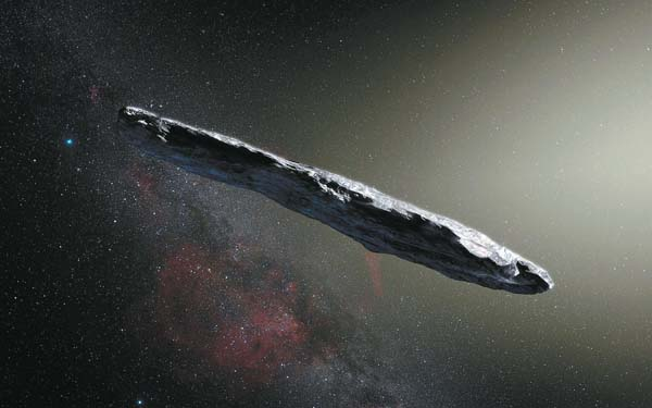 This is an artist's rendering of the first detected interstellar object, named 'Oumuamua. ESO / M. KORNMESSER graphic