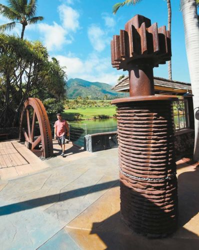 Old sugar mill equipment adds decor to the outside of the Mill House restaurant Thursday at the Maui Tropical Plantation. The proposed Waikapu Country Town project would surround the Maui Tropical Plantation.
