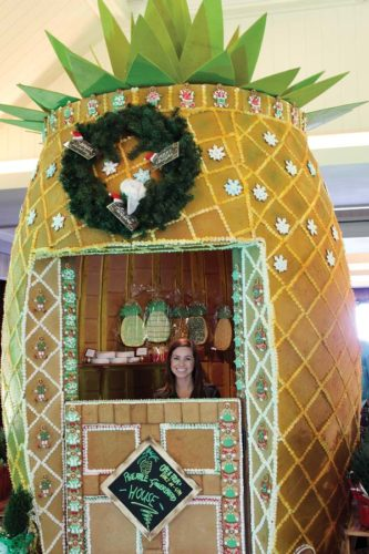 See the giant Gingerbread Pineapple House handcrafted by the Ritz pastry team now through Jan. 1.  -- The Maui News / CARLA TRACY photo