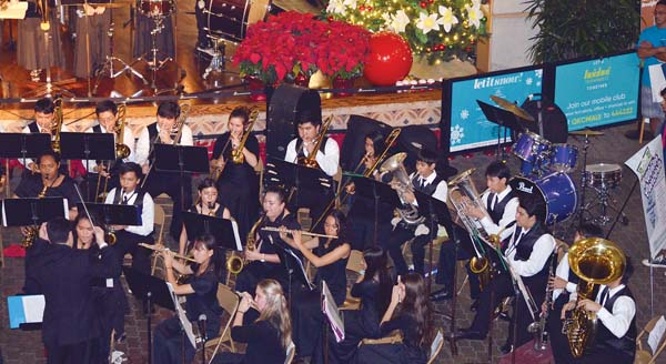 HPBaldwin High School band entertained the         audience with holiday favorites at Queen Ka'ahumanu Center last year. -- Photo courtesy HPBaldwin Band