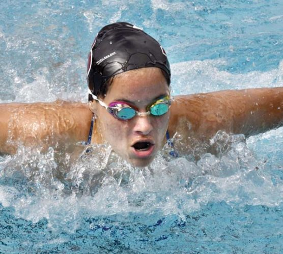 Rebecca Buenrostro-Gallimore of Baldwin High School wins the girls 100-yard butterfly in 1 minute, 1.88 seconds at the Maui Interscholastic League meet Saturday. - The Maui News / MATTHEW THAYER photo