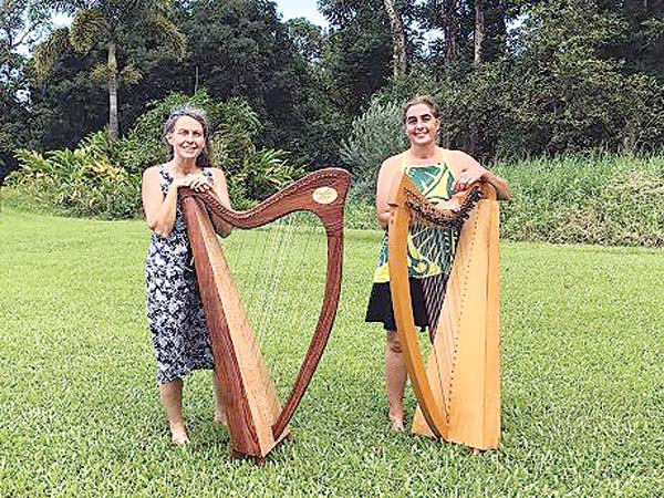 Harpists Lily Swan and Crissy Palmieri • today; courtesy Wailuku Public Library.