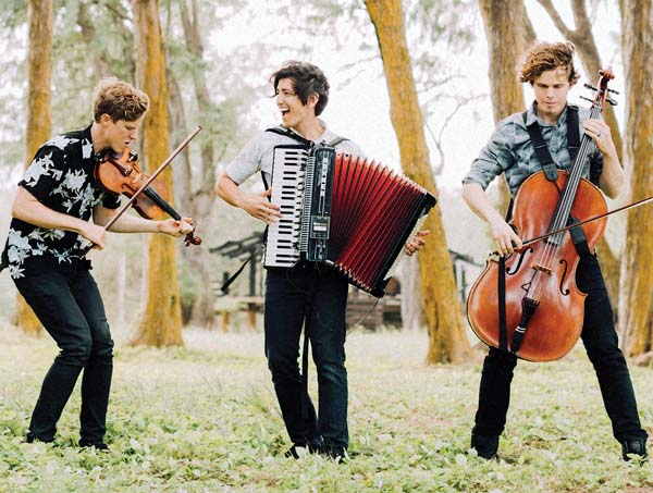 Jonathon Franklin (from left), Jesse Shiroma and Brian Webb are Streetlight Cadence and they'll bring their unique sound to the Maui Arts & Cultural Center at 7:30 p.m. Saturday. Photo courtesy the artist