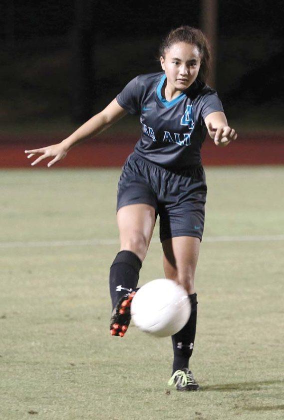 King Kekaulike's Hailee Sanchez passes the ball forward in the first half Friday. -- The Maui News / CHRIS SUGIDONO photo
