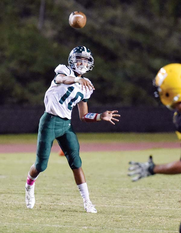 Quarterback Shraedon Naeole-Starkey is one of nine first-team Maui Interscholastic League All-Star selections for Molokai High School. The Farmers have won 15 MIL games in a row in taking the last three league crowns. The Maui News / MATTHEW THAYER photo