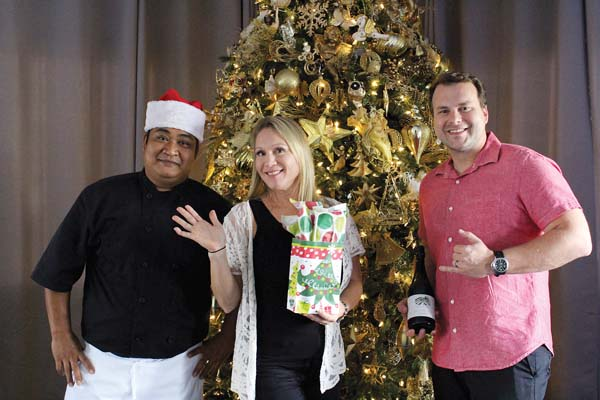 Cafe O'Lei at the Dunes will present its annual Christmas Eve prime rib buffet Sunday afternoon and it will be open for breakfast and lunch until 2 p.m. Sunday as well. Banquet Chef Arnel Abellon, Manager Marcie Fernandez and Assistant General Manager Darren Byler will cater to your holiday needs. The Maui News / CARLA TRACY photo