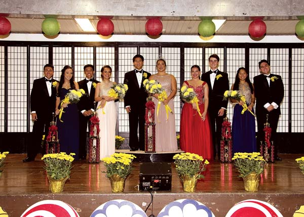 The 2017 Chrysanthemum Festival Court and their escorts are: Princess Kristi Echiverri and Kawika Fernandez (from left), Princess Jaelynn Nobriga and Logan Cabanilla-Aricayos, Queen Paige Maki Nagahama and Kai Iinuma Nakaaki, Princess Makaylen Tadeo and John Williamson and Princess Sokha Furumoto and Caleb Perreira. -- Nagamine Photo Studio photo