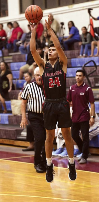 Lahainaluna's Isaiah Tanner puts up a 3-point attempt.  - The Maui News / MATTHEW THAYER photo