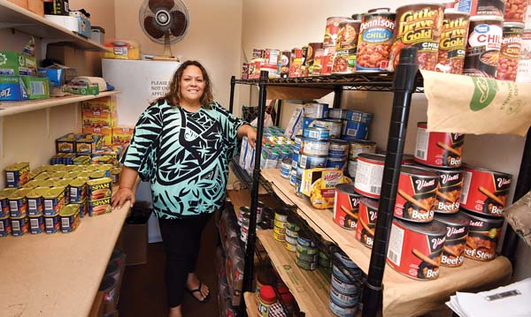Alohalani Eldredge is the co-chair of Keolahou Hawaiian Congregational Church's food pantry, which is operated by the church in partnership with the Maui Food Bank and other Kihei churches. She and Janice Cohen oversee the program, which distributes more than a week's worth of meals to homeless and food-insecure individuals and families in South Maui every Friday morning. The volunteer program, founded in 1994 by Keolahou Church congregant Carolyn Nichols, distributes food to nearly 80 South Maui families every week, often more during the holidays. The Maui News / MATTHEW THAYER photo