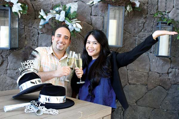 Michael Gaal (above, left) and Lani Clarion of The Ritz-Carlton, Kapalua's talented Food & Beverage department toast to the many happenings at the resort over the New Year. • Carla Tracy photo