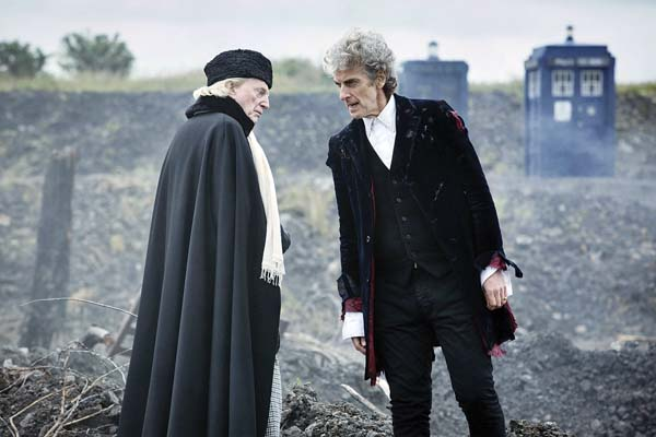 "In this undated handout photo, actors David Bradley and Peter Capaldi appear in a scene from the Christmas special, which presents the epic finale to the Capaldi-era of ""Dr. Who"" screening tonight only at 7 p.m. at Maui Mall Megaplex. Special bonus segments will also be shown. BBC Worlwide Limited via AP"