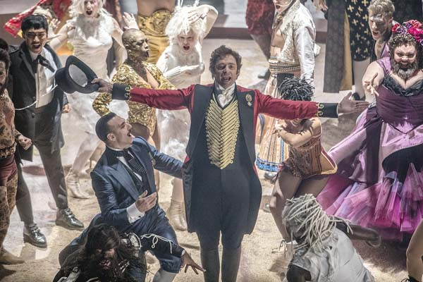 "Hugh Jackman is bigger than life as P.T. Barnum in ""The Greatest Showman."" Twentieth Century Fox via AP"