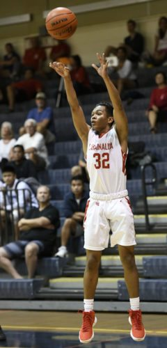 Cley Josef Palma of Lahainaluna High School releases a 3-pointer during the first quarter of the Lunas' 74-48 loss to Palo Alto (Calif.) in a Lahainaluna Invitational game Thursday at Lahaina Civic Center. The Maui News / MATTHEW THAYER photo